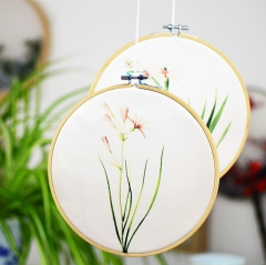 Embroidery Hoops Bamboo Circle Cross Stitch Hoop Ring for Embroidery and Cross Stitch with 100 colors yarn