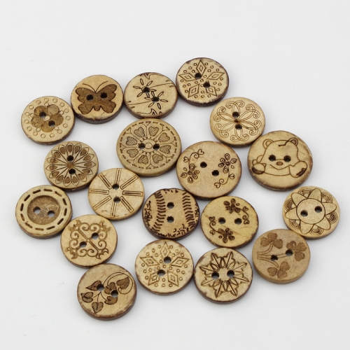 Natural Coconut Shell Buttons 2 Holes Button For Clothes Coat Wooden Buttons