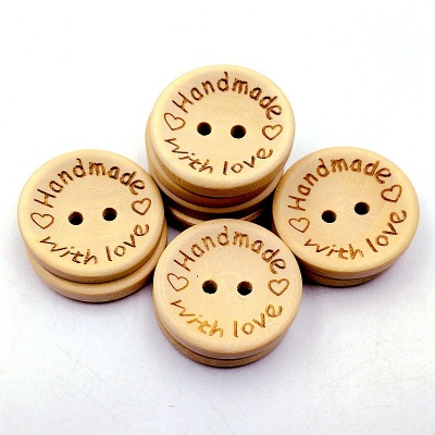 100pcs Wood Handmade Buttons Love Round Craft Decor 2 Holes Wooden Sewing Buttons (15-20-25mm)