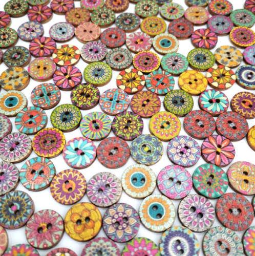 Wood Buttons, Vintage Wood Buttons with 2 Holes for DIY Sewing Craft Decorative button Mixed Random Flower Painting