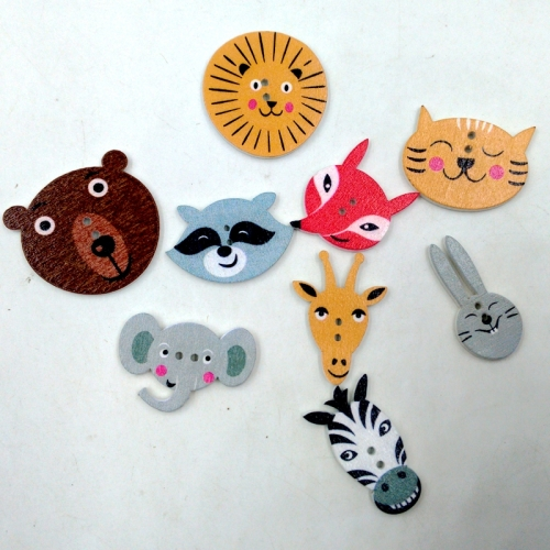 100 pcs butterfly fish horses with various shapes handmade DIY wooden buttons
